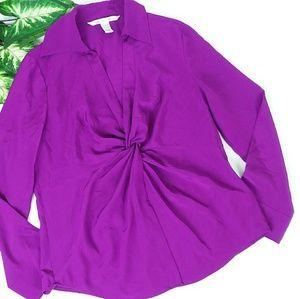 Diane Von Furstenberg Silk Berry Knot Front Blouse